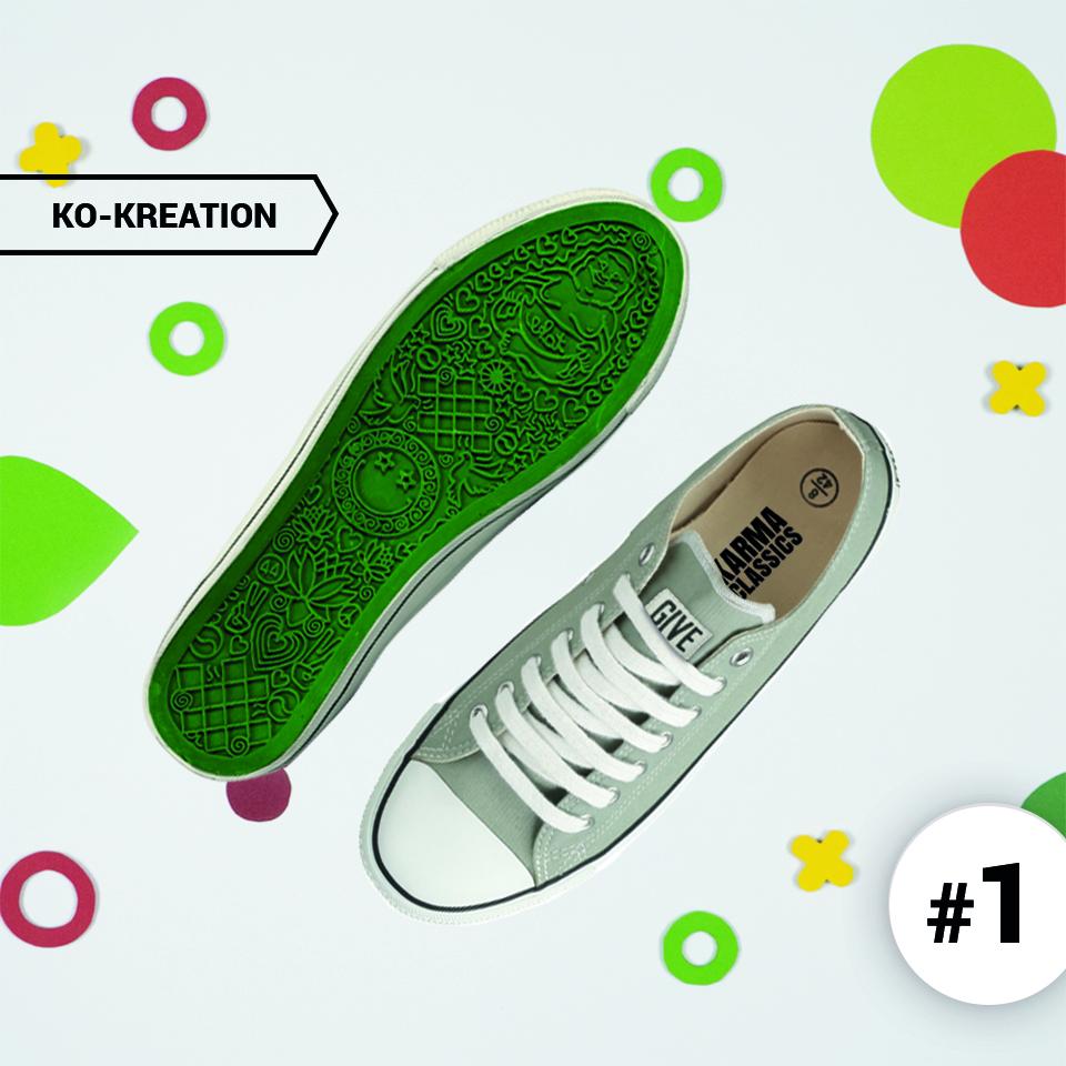 Schuhe mit grünen Schuhen