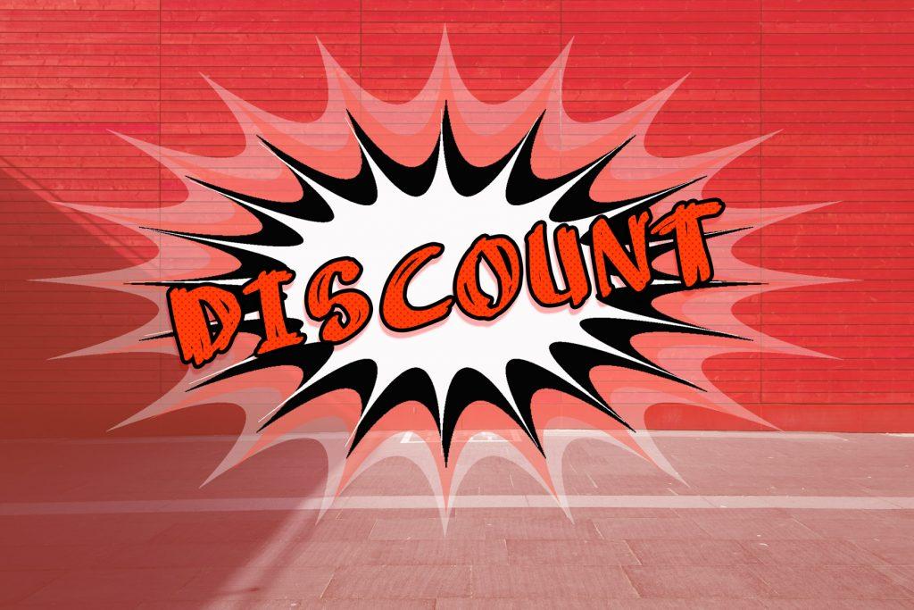 Rote Discounts und Angebotsaufkleber sind Lockvögel.
